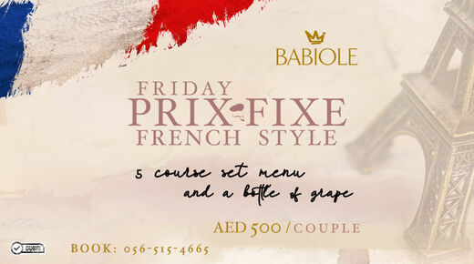 Prix Fixe French Style on Fridays event at